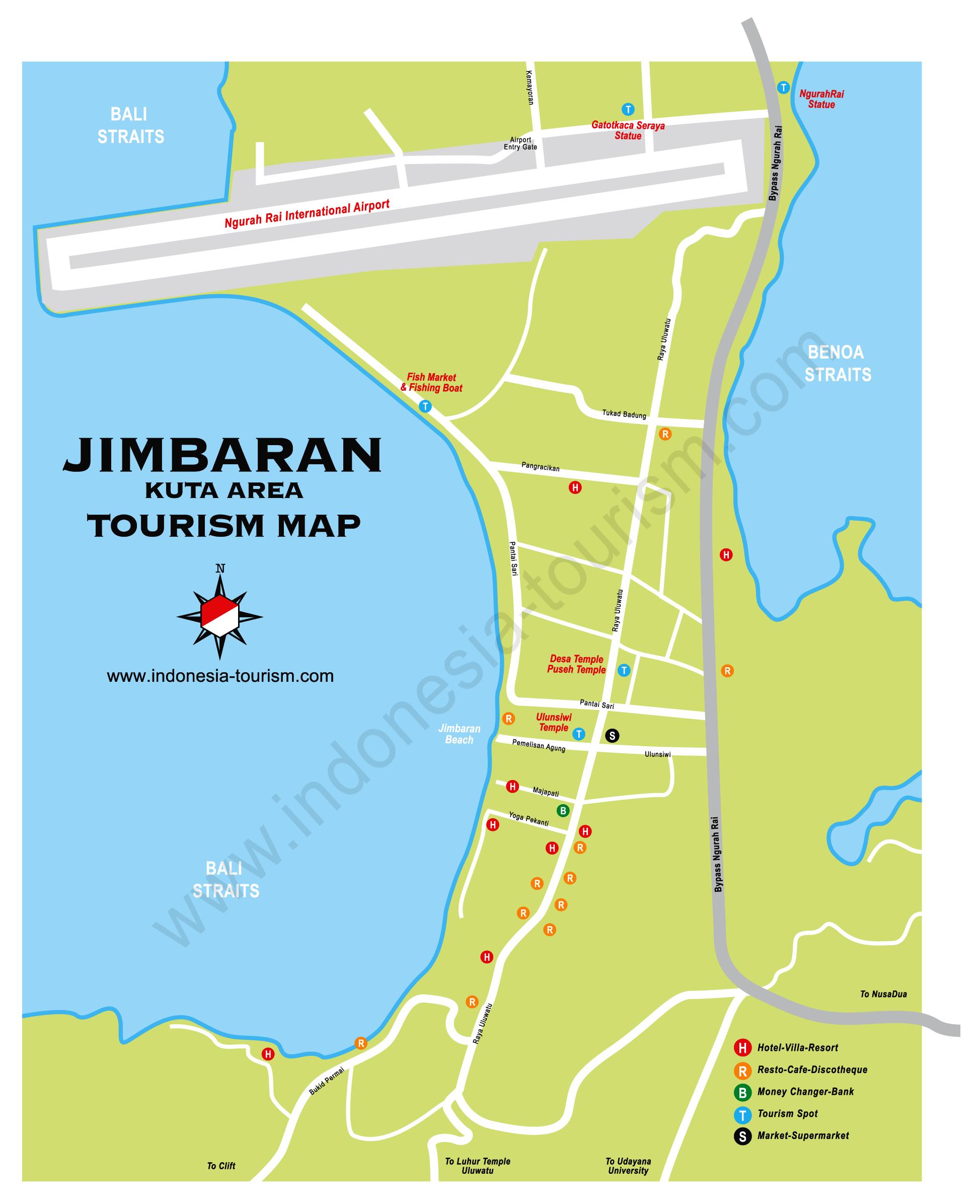 Jimbaran Bali Map Bali Island Indonesia Tourism Maps